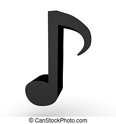 3D illustration of a black musical note. Isolated on white.