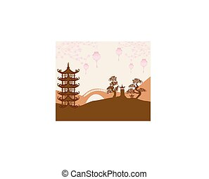 Asian buildings and cherry blossoms