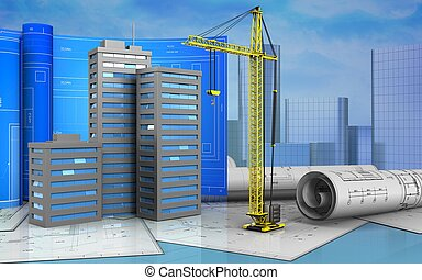 3d of crane - 3d illustration of city buildings with drawing...