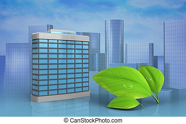 3d of leafs - 3d illustration of generic building over...