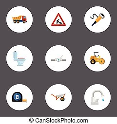 Flat Icons Steamroller, Roll Meter, Caution And Other Vector...