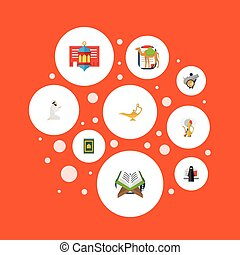 Flat Icons Holy Book, Dromedary, Genie And Other Vector...
