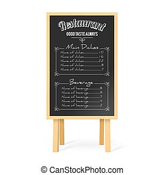 Menu Black Board with Wooden Easel and Restaurant Menu...