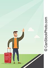 Young caucasian man with suitcase hitchhiking. - Caucasian...