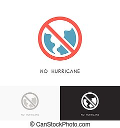 No hurricane logo - storm, tornado or twister symbol and...
