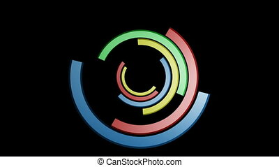 Spinning Colorful Half Circles