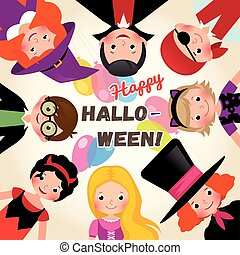 Group of happy funny children in a festive Halloween party....