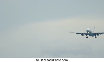 Widebody aircraft approaching over ocean - Widebody airplane...