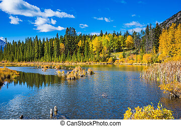 The superficial lake Vermilion - Indian summer in the Rocky...