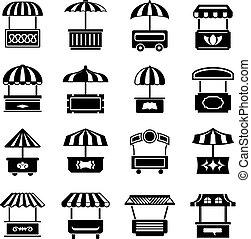 Street food kiosk icons set, simple style - Street food...