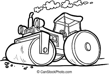 black and white illustration of an asphalt compactor -...