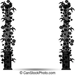frame pillar with birds and roses - Vector image