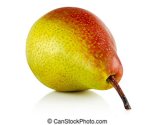 red green pear - ripe, red green pear on white background