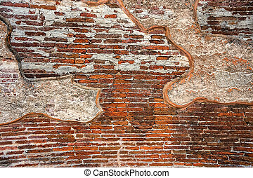 Remains of plaster in ruins of Polonnaruwa - Remains of...