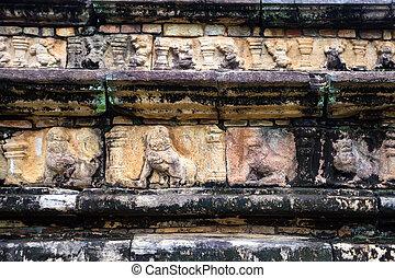 Vamana avatar of Vishnu carved in sandstone in Sri Lanka