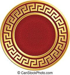 Golden round frame with Greek Meander pattern - Golden round...