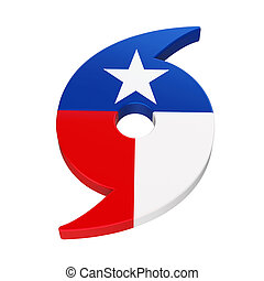 Hurricane Symbol with Texas State Flag isolated on white...