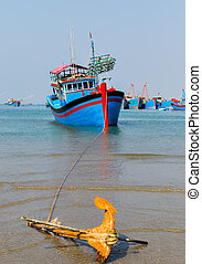 Fishing boats anchor - anchor Fishing Boats in the bay in...