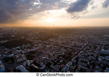 Panoramic aerial view of the old part of the Kiev city -...