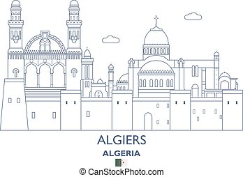 Algiers City Skyline, Algeria - Algiers Linear City Skyline,...