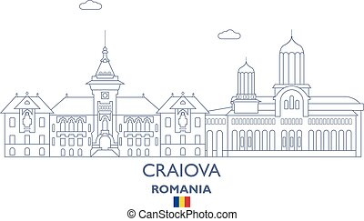 Craiova City Skyline, Romania - Craiova Linear City Skyline,...