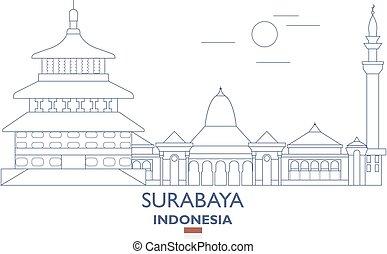 Surabaya City Skyline, Indonesia - Surabaya Linear City...