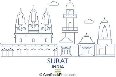 Surat City Skyline, India - Surat Linear City Skyline, India