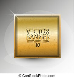 Vector abstract square banner with a gold texture
