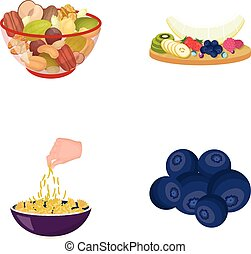 Assorted nuts, fruits and other food. Food set collection...