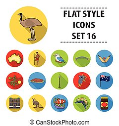 Australia set icons in flat style. Big collection of...