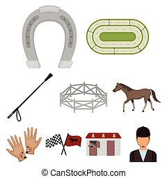 Races on horseback, hippodrome. Horse racing and equipping...