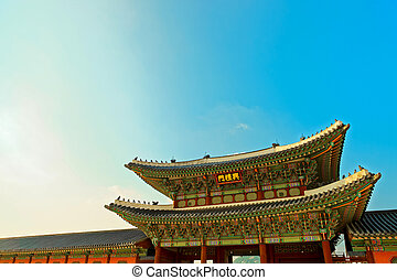 Roof top of the entrance to Gyeongbokgung Palace - the main...