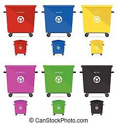 illustrations, déchets, vecteur, boîtes, recyclage