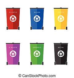 recyclage, déchets, couleur, six, vecteur, boîtes,...