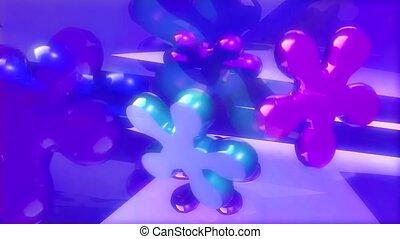 Flat flowers in purple