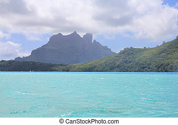 View from sea on mount Otemanu on Bora Bora island. French...