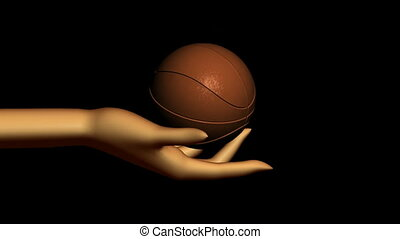 Hand with Spinning Basketball