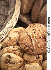Close un of bread - Bread in wicker baskets in a French...