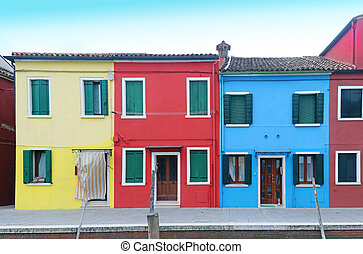 Colorful facade houses