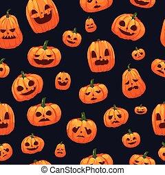 Pumpkins Jack O Lantern Seamless Wallpaper - A vector...