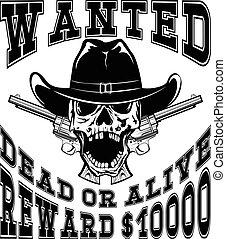 skull revolvers wanted dead var 7 - Vector illustration...