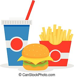 Lunch with french fries, hamburger and soda takeaway on isolated background. Fast food. Vector flat design.