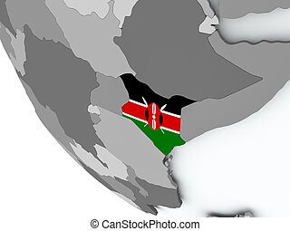 Flag of Kenya on political globe