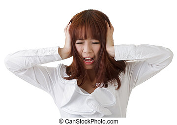 Frustrate business woman of Asian put hand on head against...
