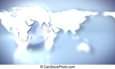 Transparent Globe in Front of World Map