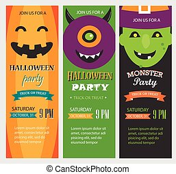 Halloween party invitations, vertical banners set, vector illust
