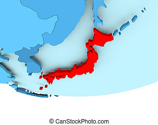 Japan in red on blue map