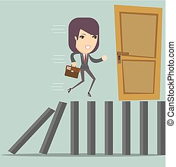 domino effect and problem solving. Stock flat vector...