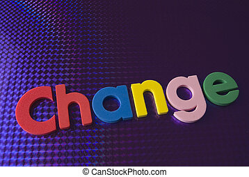 colorful change word on blue neon background, part of a...