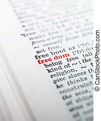 The word freedom highlighted in a dictionary